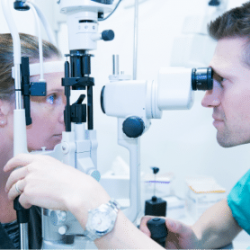 Opticians with Patient at Cathedral Eye Clinic